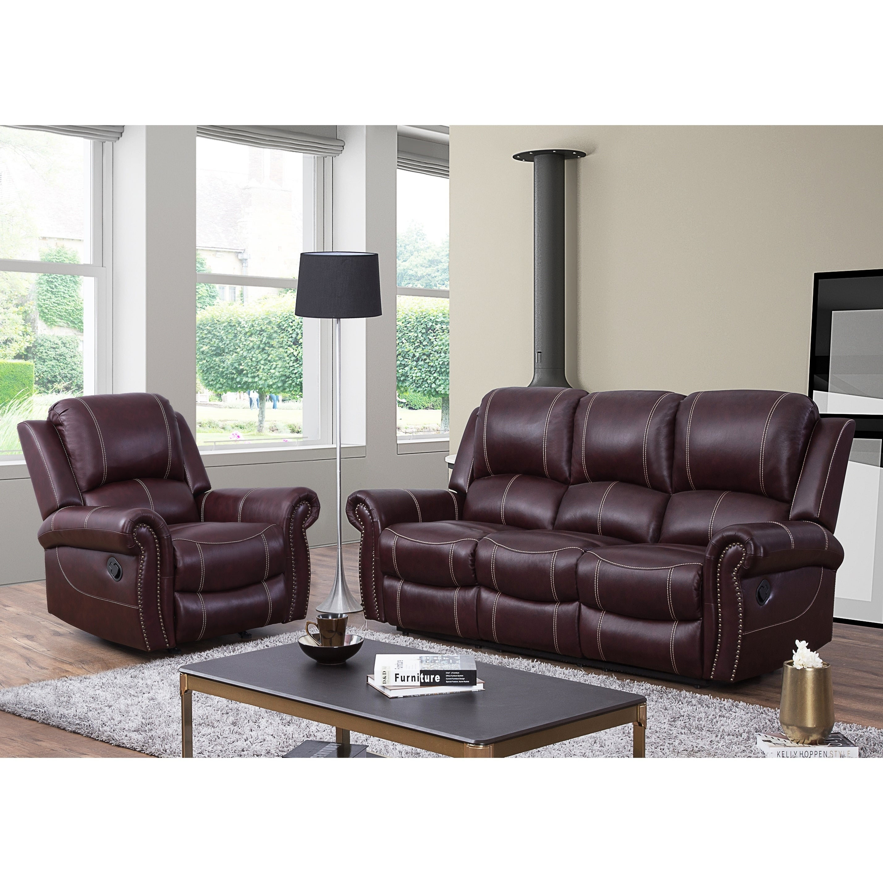 Abbyson Winston Burgundy Top Grain Leather Reclining 2 Piece Living Room Set