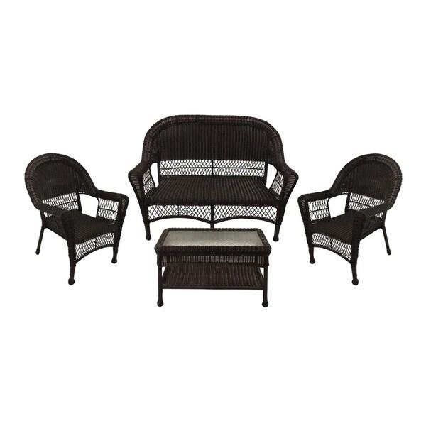 Breckenridge 4 Piece Patio Furniture Set Two Swivel: Shop 4-Piece Brown Resin Wicker Patio Furniture Set
