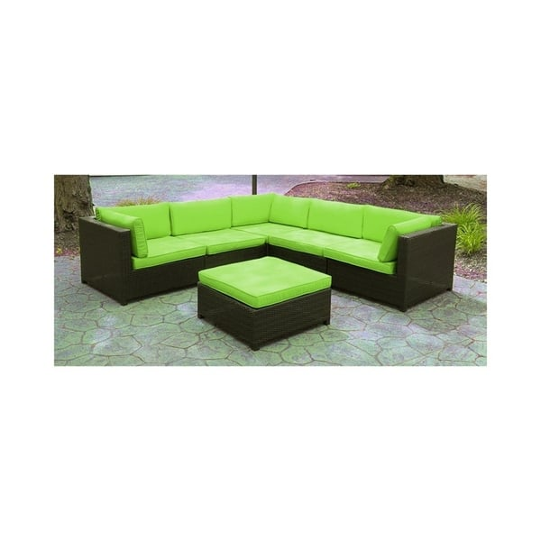 Remarkable Black Resin Wicker Outdoor Furniture Sectional Sofa Set Lime Green Cushions Gamerscity Chair Design For Home Gamerscityorg