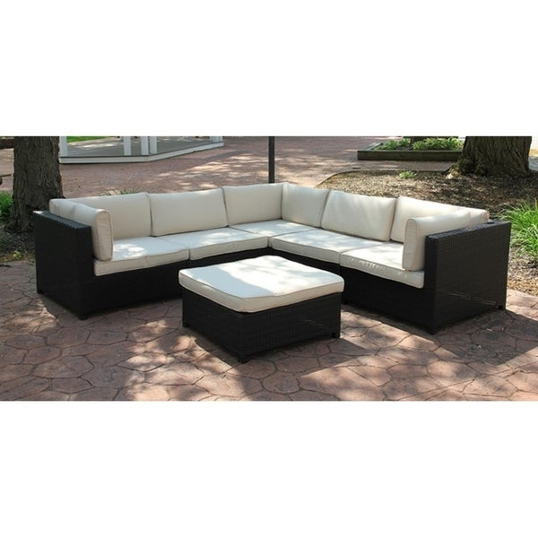 Black Resin Wicker Outdoor Furniture Sectional Sofa Set Beige Cushions Free Shipping Today 23004893