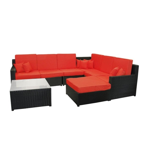8 Piece Black Resin Wicker Outdoor Furniture Sectional Sofa Table And Ottoman Set Red Cushions Free Shipping Today 23004903