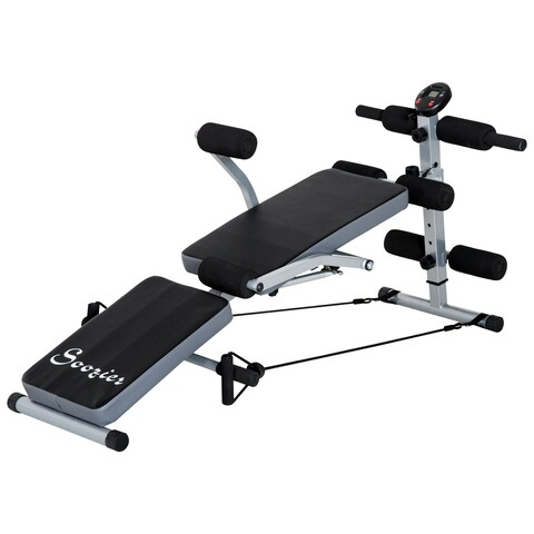 Soozier Multi-Position Abdominal Sit-Up Bench With LCD Monitor - Black/grey
