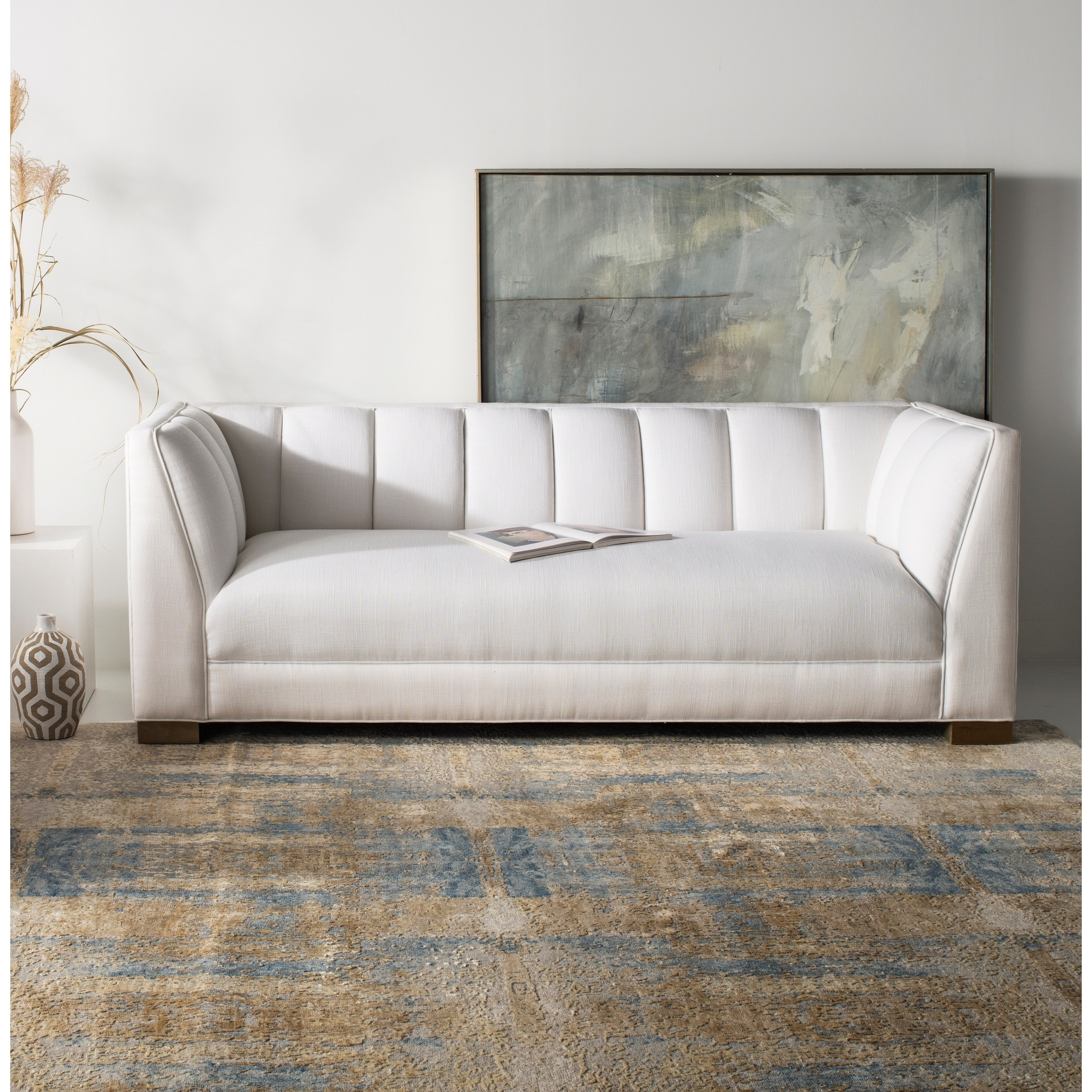 Safavieh Couture Beverly White Linen Blend Sofa With Birch Wood Legs