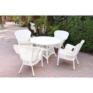 5pc Windsor White Wicker Dining Set with Cushions