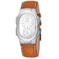 Philip Stein Women's 1-FSW-CSTC 'Signature Small' White Dial Beige Leather Strap Dual Time Quartz Watch