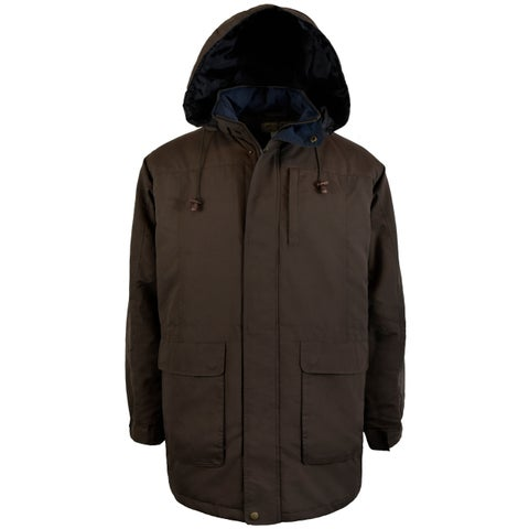 Mens Microfiber Parka With Hood and Quilted Lining