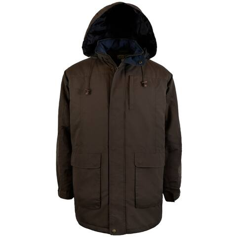 Mens Microfiber Oversized Parka With Hood and Quilted Lining
