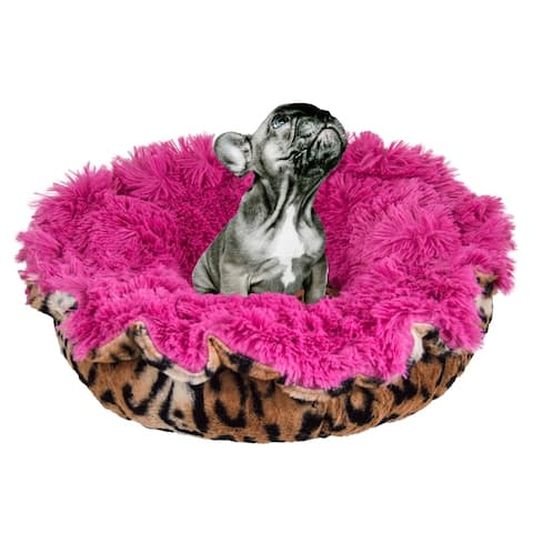 """Bessie and Barnie Ultra Plush Chepard/ Lollipop Deluxe Shag Dog/ Pet Lily Pod Bed - 24"""""""