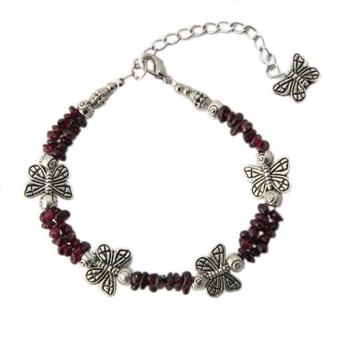 Handmade Silver Butterfly with Garnet Anklet (China)