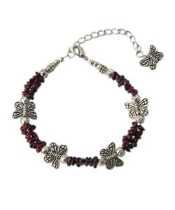 Silver Butterfly with Garnet Anklet (China)