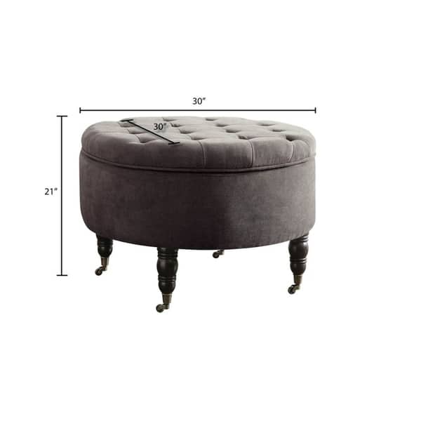 Elle Decor Quinn Round Tufted Ottoman