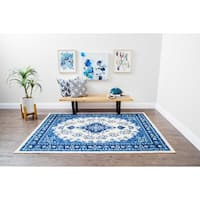 Structure Vintage Oriental Blue and Ivory Medallion Rug - 5' x 7'
