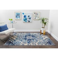 Structure Vintage Modern Blue and Grey Distressed Medallion Rug - 9' x 12'