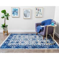 Structure Vintage Blue and Ivory Lotus Floral Rug - 8' x 10'