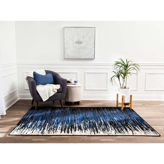 Structure Modern Blue and Black Ombre Stripe Rug - 8' x 10'