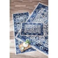 Structure Blue Lotus Floral 3 piece Rug Set - 2'6 x 6'/5' x 7'/2' x 3'