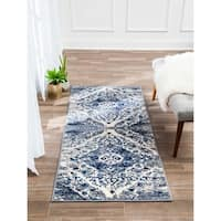 Structure Vintage Modern Blue and Grey Distressed Medallion Runner Rug - 2'6 x 8'