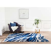 Structure Modern Blue and Ivory Geometric Waves Rug - 8' x10'