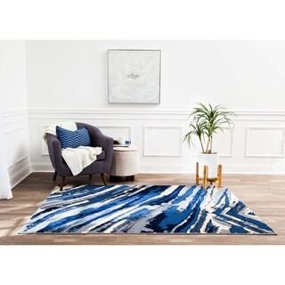 Structure Modern Blue and Ivory Geometric Waves Rug - 8' x 10'
