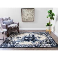 Structure Vintage Modern Grey and Blue Distressed Medallion Rug - 5' x 7'