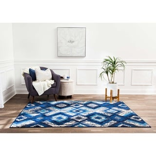 Structure Modern Blue and Ivory Multi Diamonds Rug - 5' x 7'