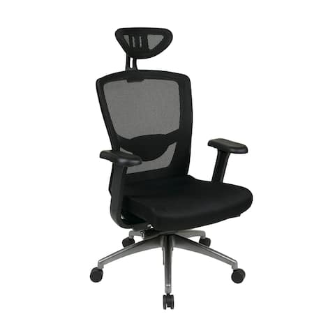 Executive Office Chair with Headrest and Titanium Base