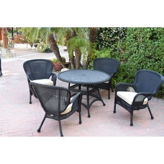 5pc Windsor Black Wicker Dining Set with Cushions