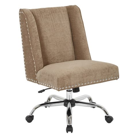 Alyson Office Chair with Silver Nail Heads and Chrome Base
