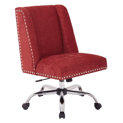 Inspired By Bassett Alyson Managers Chair With Silver Nail Heads and Chrome Base