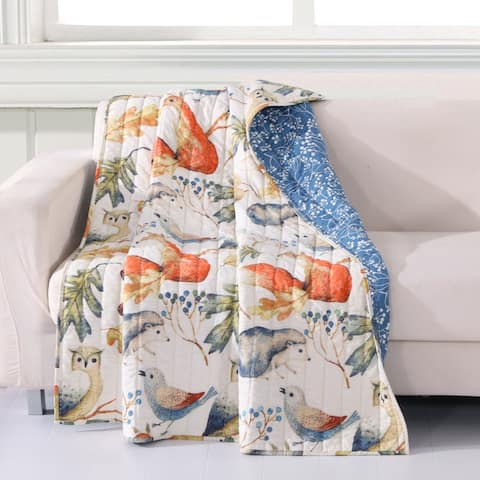 Porch & Den Morilon Forest Wildlife Quilted Throw