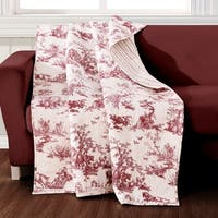 Greenland Home Classic Toile Red Quilted Throw