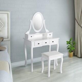 Kinbor Makeup Vanity Table Set Dressing Table Set Mirror Makeup Dressing Table With Stool, Round Mirror, 5 Drawers