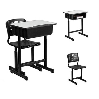 Adjustable Child Study Writing Furniture Student Desk and Chair Set