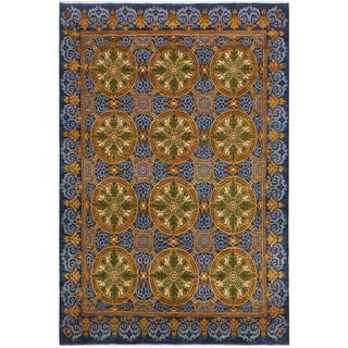 Kafkaz Peshawar Torie Blue/Gold Hand-Knotted Rug (8'0 x 10'1) - 8 ft. 0 in. x 10 ft. 1 in.
