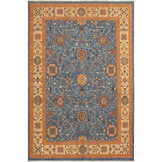 Arshs Fine Rugs Kafkaz Peshawar Santo Lt. Blue/Ivory Wool Handmade Area Rug - 9'2 x 11'10