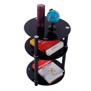 Copper Grove Bulqize 3-tier Round Glass and Steel End Table