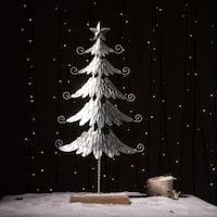 Glitzhome Iron Galvanized Christmas Tree Table Decor