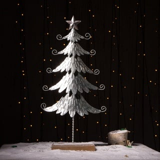Glitzhome Iron Galvanized Christmas Tree Table Decor