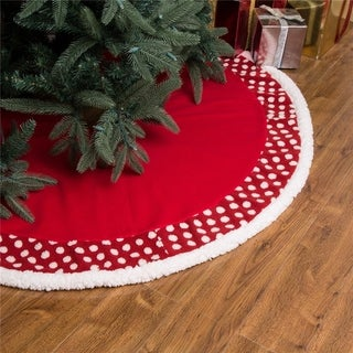 "Glitzhome 48"" Fabric Christmas Tree Skirt - 48""x 48"""
