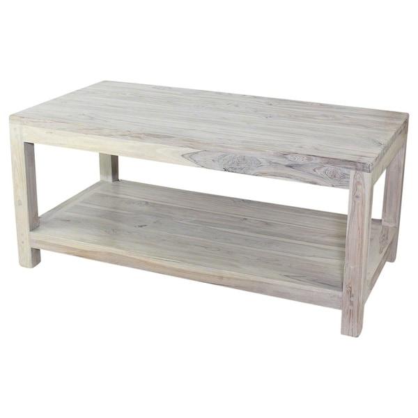 Grey Teak Coffee Table: Shop Haussmann Teak Coffee Table W/Shelf 40 X 20 X 18 In H
