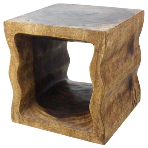 "Handmade Eco Wood Wavey Pierced Cube Table (Thailand) - 18"" x 18"" x 18"""