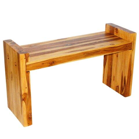 "Haussmann? Teak Block Bench 36 x 12.5 x 20.5 inch High KD Oak Oil - 36"" x 12.5"" x 20.5"""