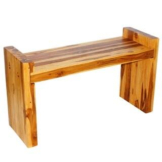Haussmann Teak Block Bench 36 x 12.5 x 20.5 in H Seat 18 Oak Fin - 36 x 12.5 x 20.5 in h (seat = 18) kd