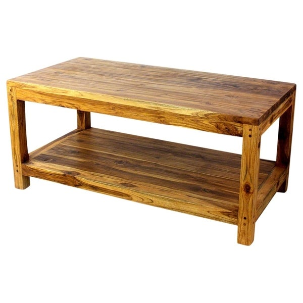Teak Oil Coffee Table: Shop Haussmann Teak Coffee Table W/Shelf 40 X 20 X 18 In H