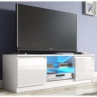 White High Gloss 2-drawer Cabinet TV Console Stand with LED Shelves