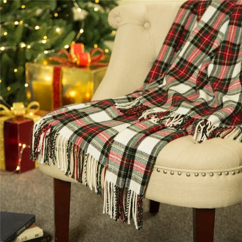 Glitzhome 50 x 60 Plaid Woven Throw