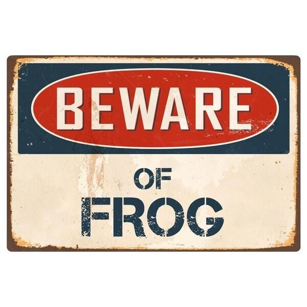 "Beware Of Frog 1 8"" x 12"" Vintage Aluminum Retro Metal Sign"