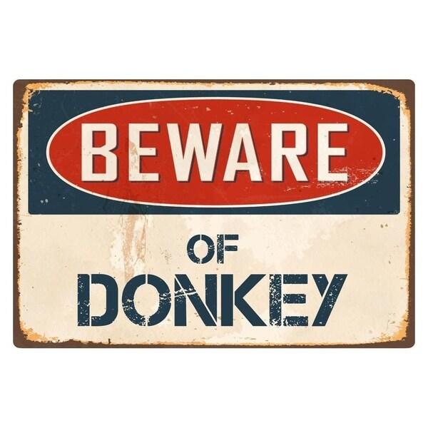 "Beware Of Donkey 8"" x 12"" Vintage Aluminum Retro Metal Sign"