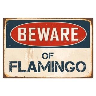 """Beware Of Flamingo 8"""" x 12"""" Vintage Aluminum Retro Metal Sign"""