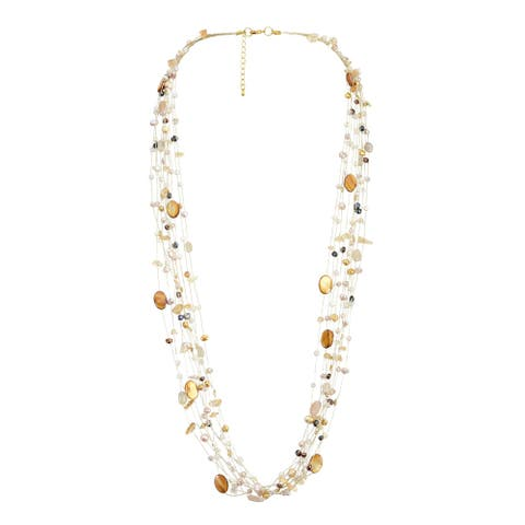 Handmade Floating Multicolor Pearl Silk Strand Long Necklace (Thailand)